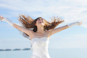bride excited about wedding entertainment choice